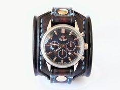 Leather Watch Cuff, Unique Leather Watch, Watches, Jewellery