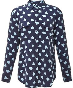 1116102151ff9 Equipment Signature Heart-Print Washed-Silk Shirt PEACOAT on shopstyle.com Heart  Print