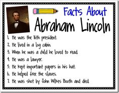Awesome President's Day Activities and Lessons - love the Gettysburg Address in the pocket of the hat project. Abe <3