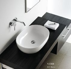 Bathroom, : Good Bathroom Design Ideas With Oval White Ceramic Sink Basins, Stainless Steel Wall Sink Faucet And Black Solid Wood Sink Cabinet