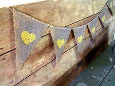 Grey and Yellow Wedding Banner Burlap / Photography Prop. $22.00, via Etsy.