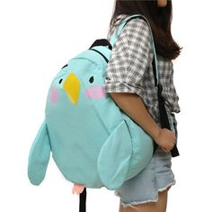 Multi Color Preppy Style Parrot Backpack Cute Cartoon Outdoor School Bag