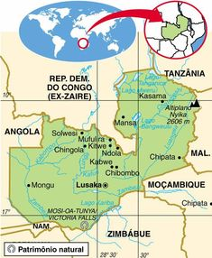 Zâmbia | Aspectos Geográficos e Socioeconômicos do Zâmbia African Countries Map, Country Maps, Victoria Falls, African Animals, Paladin, Congo, Tanzania, Places To Travel, Charts