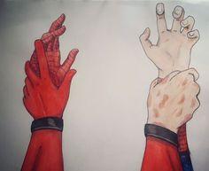 Marvel Universe - Wade Wilson x Peter Parker - Deadpool x Spiderman - Spideypool Deadpool X Spiderman, Marvel Avengers, Funny Avengers, Thor Y Loki, Superfamily, Spideypool Comic, Mundo Comic, Wade Wilson, Marvel Memes