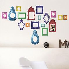 Cute idea for the playroom: Kitsch Frame Wall Decal Set Home Stickers, Wall Stickers, Wall Decals, Do It Yourself Design, Colorful Frames, Affordable Modern Furniture, Toy Rooms, Kids Rooms, Kids Bedroom