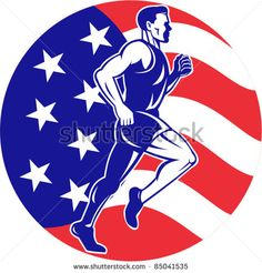 vector illustration of a illustration of a male Marathon road runner jogger fitness training road running with American flag stars and stripes in background inside circle - stock vector #marathon #retro #illustration