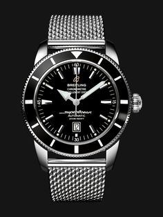 Superocean Héritage 46 watch by Breitling - stainless steel case with black bezel and dial, steel mesh bracelet