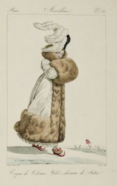 Fur Trimmed Winter Ensemble with Plumed Velvet Hat, Giant Fur Muff & Fur Lined Satin Slippers - (Note the skaters slipping and sliding in the background!) - Paris, France - 1814