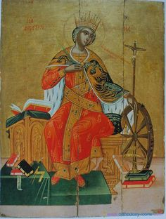 St Catherine of Alexandria, Monastery of St. Catherine (Sinai) - Note: she is wearing a cloak with the bi-cephalic eagle on it. It has been long suspected that she was a relative of the Byzantine royalty Byzantine Icons, Byzantine Art, Religious Icons, Religious Art, Saint Catherine's Monastery, St Catherine Of Alexandria, Saint Katherine, Russian Icons, Mosaics