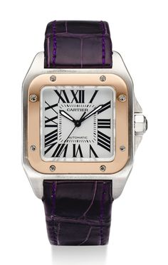 110f6d915a2 Cartier A STAINLESS STEEL AND PINK GOLD SQUARE AUTOMATIC WRISTWATCH SANTOS  100 CIRCA 2000 Vintage Cartier