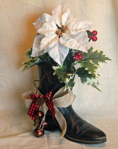 Cowboy Boot Christmas Decoration  Floral by cheekersdenim on Etsy, $25.00