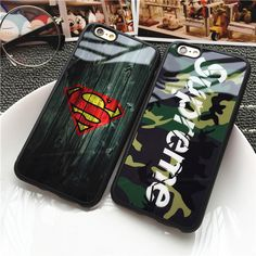 Retro Camouflage Supreme Mirror Case for iPhone 6 6s Plus Cover Superman Silicone Rubber Bag Case for iPhone 7 Plus Coque Fundas