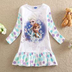 2014 New baby Girls princess Elsa Anna Frozen Dress long sleeve cute dot Fashion vestidos de menina kids dress nightgown Z15A5