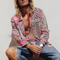 Fashion Casual, Men Casual, Mens Fashion, Fashion Shirts, Shorts Casual, Casual Shirts, Vintage Outfits, Vintage Shirts, Loose Shirts