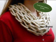 Como tejer una bufanda o chalina en punto entrecruzado tejido con dos agujas - YouTube