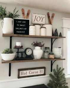 The importance of the kitchen shelf decor farmhouse style open shelf - apikho . - The importance of the kitchen shelf decor farmhouse style open shelf – apikho … – Nail Effect - Country Farmhouse Decor, Farmhouse Kitchen Decor, Farmhouse Style, Country Style, Farmhouse Shelving, French Country, Modern Country, Kitchen Shelf Inspiration, Kitchen Ideas