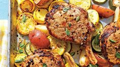 One sheet and dinner is done, thanks to Greek Pork Chops, squash and potatoes. Pork Chop Recipes, Potato Recipes, Summer Squash Recipes, Bon Ap, One Dish Dinners, Baked Pork Chops, Southern Recipes, Entrees, Dinner Recipes