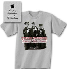 327a6757 Three Stooges T-shirt Funny Higher Learning Adult Gray Tee Shirt Three  Stooges T-