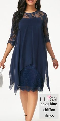 African style 367606388330262850 - Three Quarter Sleeve Navy Chiffon Overlay Lace Dress Source by liligalwomensfashion Mother Of Bride Outfits, Mother Of The Bride Gown, Mother Of Groom Dresses, Mothers Dresses, Mob Dresses, Trendy Dresses, Modest Dresses, Cute Dresses, Formal Dresses