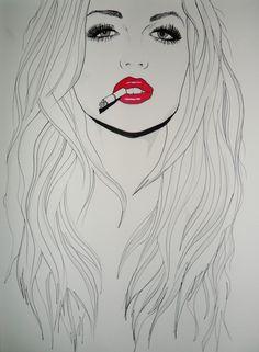 New Pop Art Girl Smoking Paintings Ideas Smoke Drawing, Smoke Painting, Smoke Art, Girl Smoking Art, Cigarette Drawing, Indian Drawing, Pop Art Girl, Arte Pop, Art Drawings Sketches