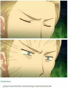 Going to bed and then remembering you had homework like, funny, text, Germany; Hetalia