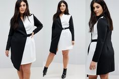 a2233ca7b1a  PlusModelMag Plus Fashion Find  ASOS CURVE Color Block Blazer Dress with  Belt at ASOS