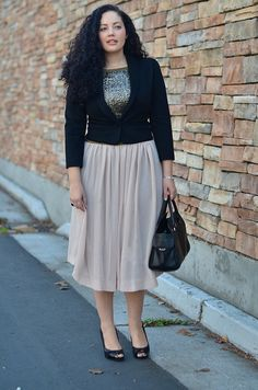 Sequin Top | Chiffon Midi Skirt | Cardi