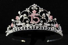 15 Mis Quince Anos Quinceanera Pink Rhinestone Tiara