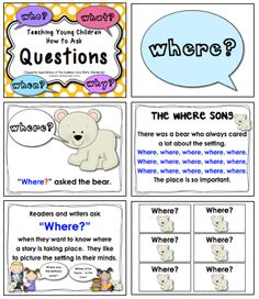 This is a fun, age-appropriate set of materials that can be used to teach young children how to ask important questions (who, where, when, what, why, and how) when they are reading and writing.  43 pages, $  #questioning