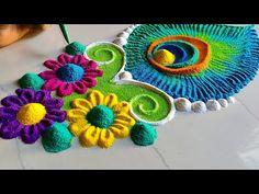 Free Hand Rangoli Design, Rangoli Designs Diwali, Rangoli Colours, Relaxing Art, Flower Rangoli, Beautiful Rangoli Designs, Simple Rangoli, Peacock Feathers, Art Ideas