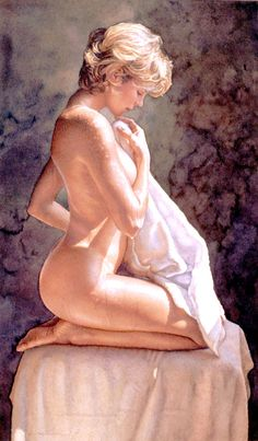 Steve Hanks After the Bath Watercolour