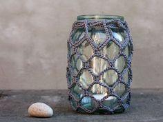 crocheted hangers | Crocheted mason jar hanger