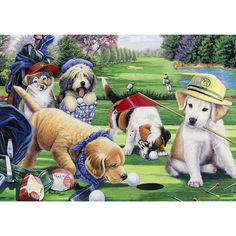 Epic-Art-Jennifer-Newland-Golfing-Puppies-Gallery-Stretched-Canvas-Art-b2b4abd4-da6e-4dfc-8d5b-40a5ac3beb4b_600.jpg (600×600)