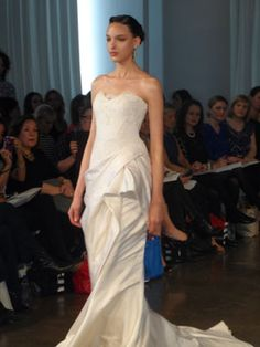 Marchesa white bridal gowns draping elegance romance fashion love