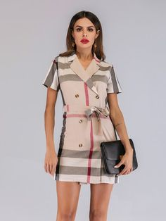 8ecea8f9d967 Madras Plaid Double Breasted Belted Dress
