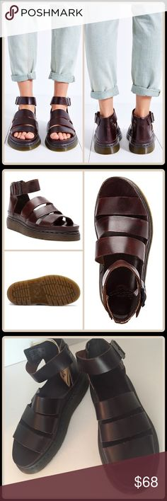 JUST IN CLARISSA STRAPPY SANDAL [DR. MARTENS]  With Tag $120 Retail + Tax  -Upper made from Brando leather -Strapped sandal in a chunky silhouette -Buckle closure at ankle for an adjustable fit -Padded footbed for all-day comfort -Dr. Martens air-cushioned sole -Light leather scarring   2+BUNDLE = SAVE  ‼NO TRADES--NO HOLDS  ✈️Ship Same Day--Purchase By 2PM PST  USE BUY NOW or BUNDLE & SAVE  ✔️Ask Questions Not Answered In Description--Want You To Be Happy Dr. Martens Shoes Sandals