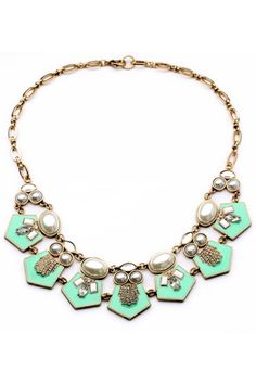 Vintage-y gold & mint necklaces for bridesmaids