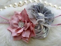 Polvo Rosa & plata flor diadema/foto Prop por OohLaLaDivasandDudes