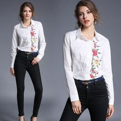 Fashion Women Floral Embroidered Long Sleeve Blouse Casual Slim Ol Shirt Tops