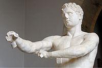 Detall de l'Apoxiòmenos de Lisip, còpia romana del 320 a.C (escultura votiva)