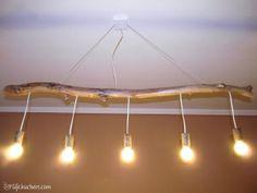 Lampada ramo di legno