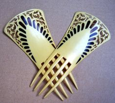 Art Deco hair comb 2 French ivory hair by ElrondsEmporium on Etsy, $85.00