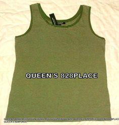 d7560dbbbe2732 Nwt Jones New York Women s Stretch Green Sleeveless Striped Tank Top L  Large New