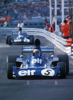 Jackie Stewart Tyrrell 006, with team mate Francois Cevert just behind. Monaco 1973