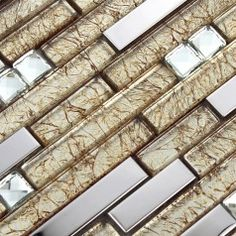 Silver Stainless Steel Wall Tiles Clear Crystal Diamond Glass Mosaic Tile Kitchen Backsplash SGD1628