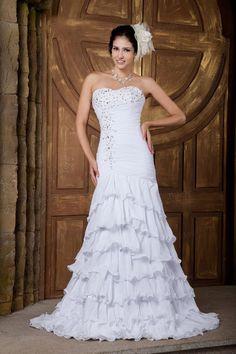 Trumpet/Mermaid Sweetheart Satin Chiffon Sweep/Brush Train Wedding Dress