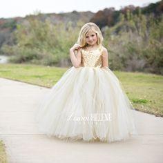 Sweet Delight Ivory Champagne Flower Girl Dress, Gold Flower Girl Dress, Ivory Flower Girl Dress, Princess Flower Girl Dress, Gold Sequin Girls Couture Dresses, Flower Girl Tutu Gown