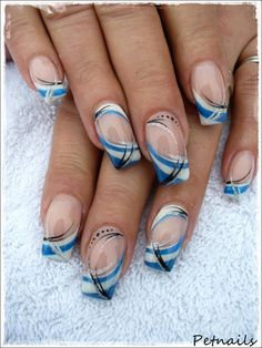 French Nail Art in blue, silver, white and black ♥
