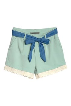 Light blue/green shorts with lace trim $38.99