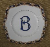 """B""  9 1/4"" Handled Platter in Blue, Orange and Gold"